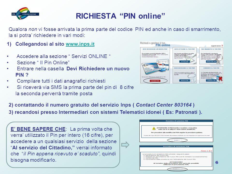 RICHIESTA PIN online