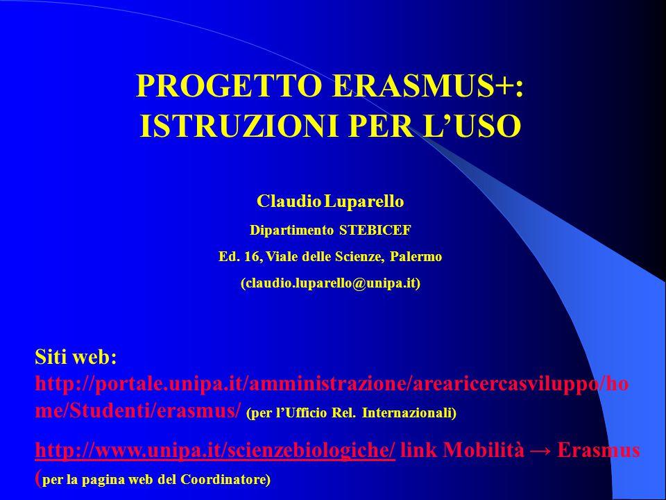 PROGETTO ERASMUS+: ISTRUZIONI PER L'USO