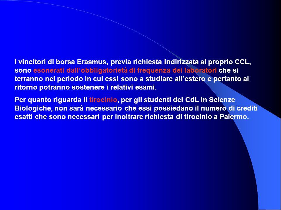 I vincitori di borsa Erasmus, previa richiesta indirizzata al proprio CCL, sono esonerati dall'obbligatorietà di frequenza dei laboratori che si terranno nel periodo in cui essi sono a studiare all'estero e pertanto al ritorno potranno sostenere i relativi esami.