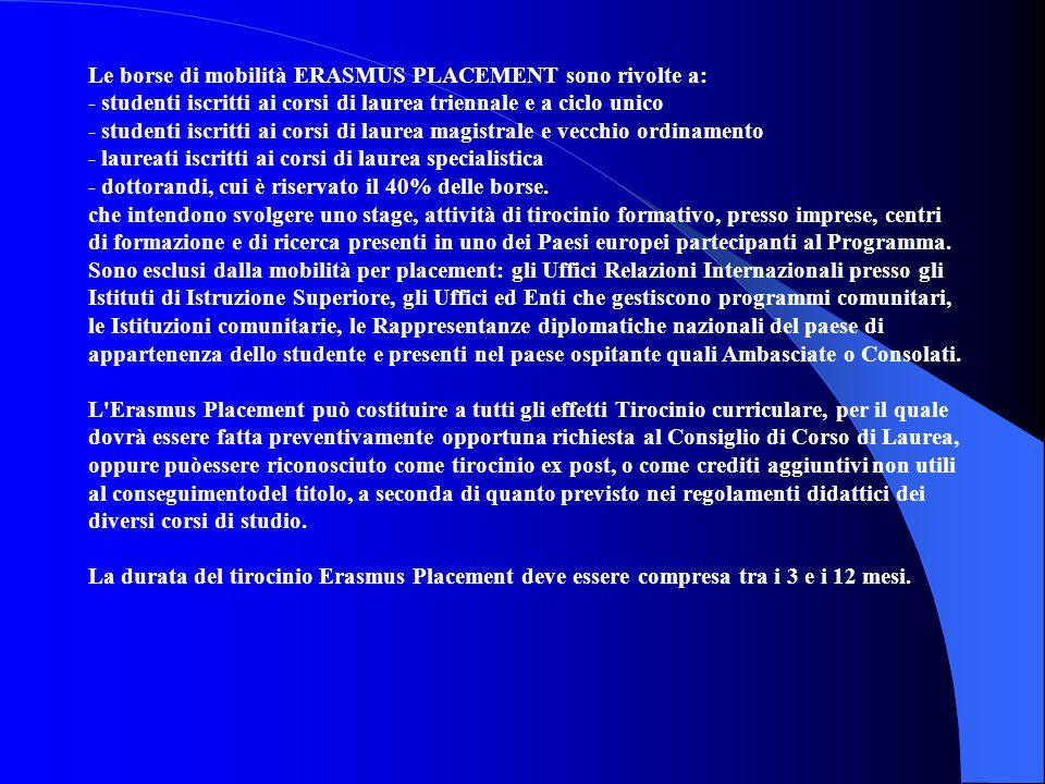 Le borse di mobilità ERASMUS PLACEMENT sono rivolte a:
