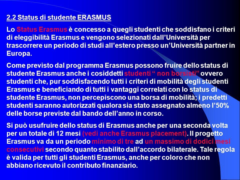 2.2 Status di studente ERASMUS
