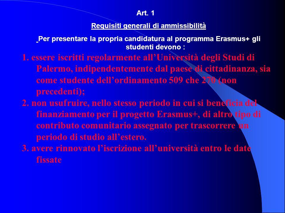 Requisiti generali di ammissibilità