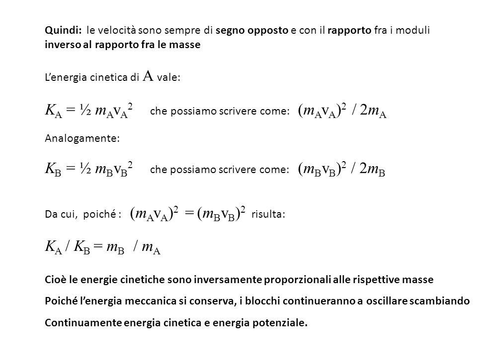KA = ½ mAvA2 che possiamo scrivere come: (mAvA)2 / 2mA