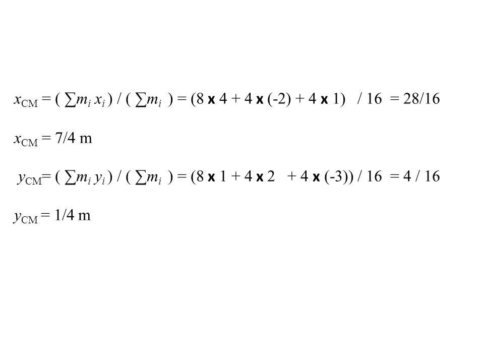xCM = ( ∑mi xi ) / ( ∑mi ) = (8 x 4 + 4 x (-2) + 4 x 1) / 16 = 28/16