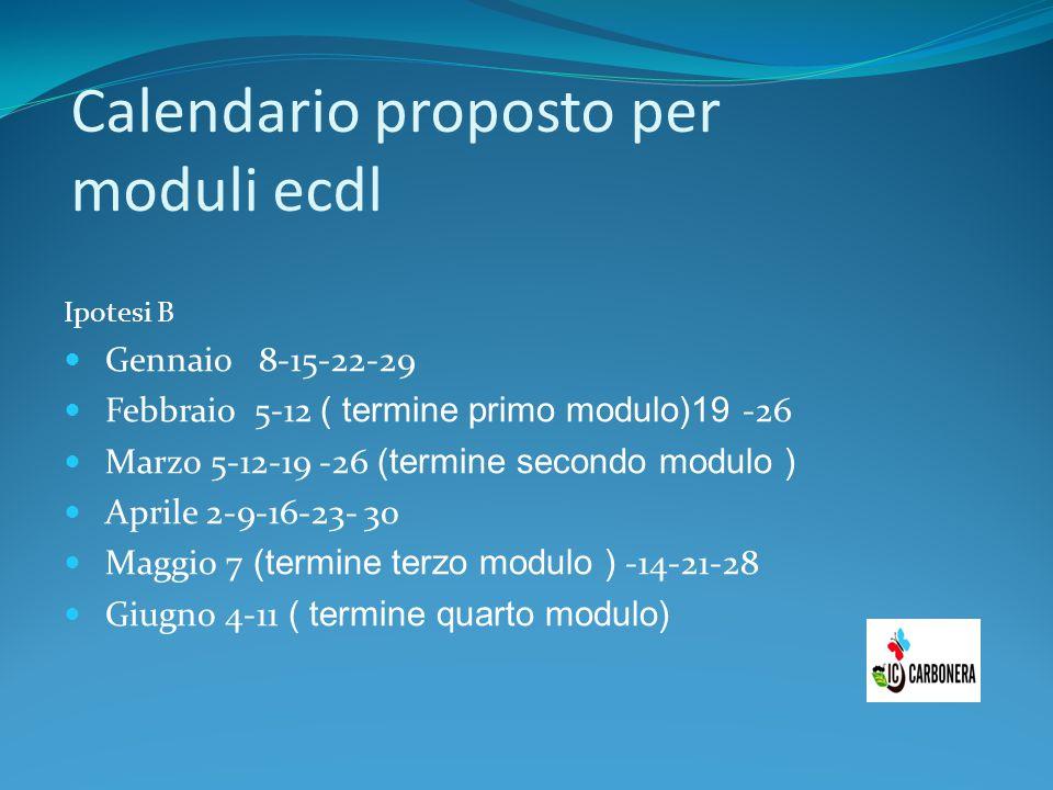 Calendario proposto per moduli ecdl