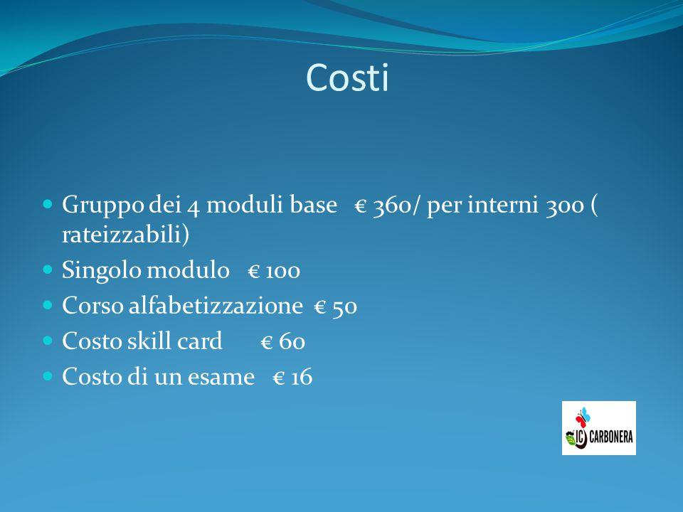 Costi Gruppo dei 4 moduli base € 360/ per interni 300 ( rateizzabili)