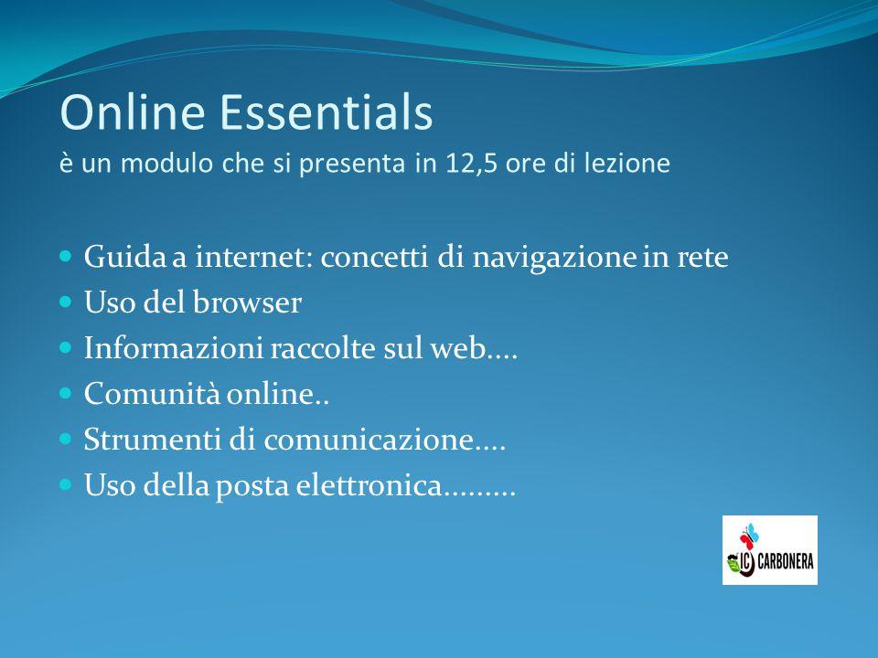 Online Essentials è un modulo che si presenta in 12,5 ore di lezione