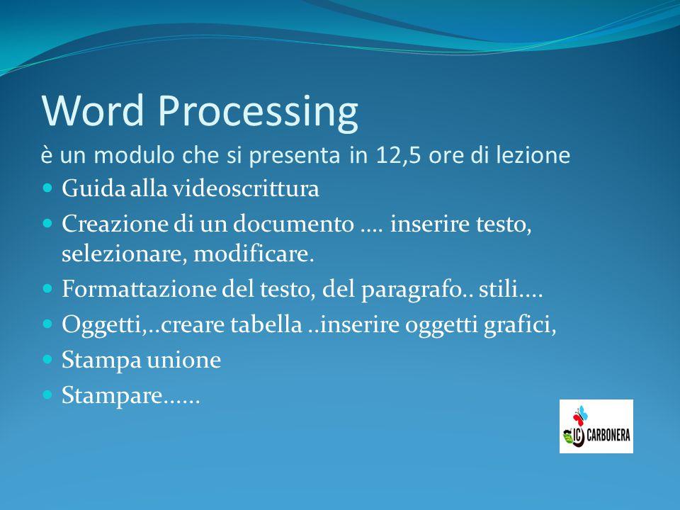 Word Processing è un modulo che si presenta in 12,5 ore di lezione