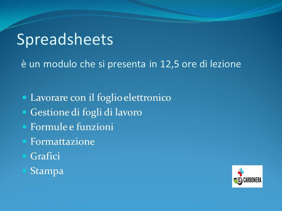 Spreadsheets è un modulo che si presenta in 12,5 ore di lezione