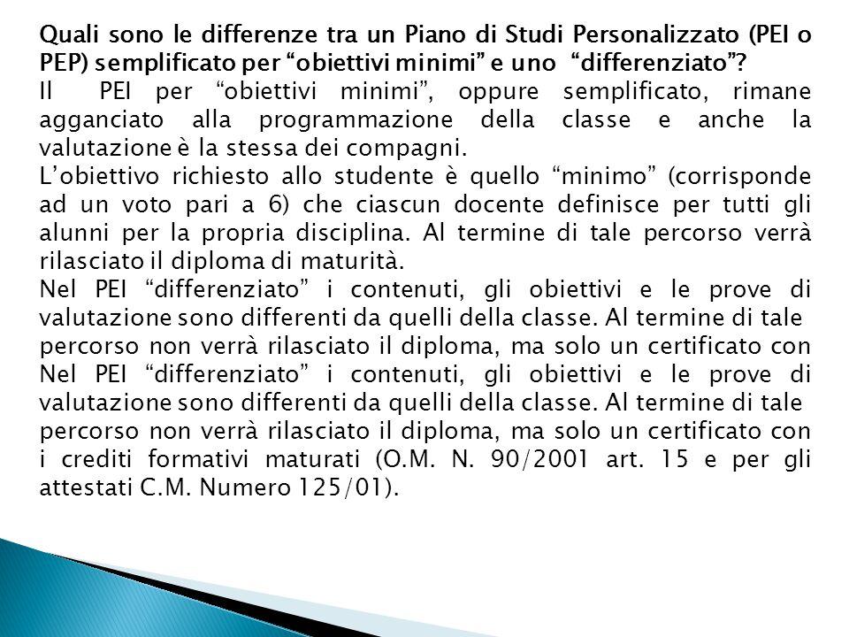 Quali sono le differenze tra un Piano di Studi Personalizzato (PEI o PEP) semplificato per obiettivi minimi e uno differenziato