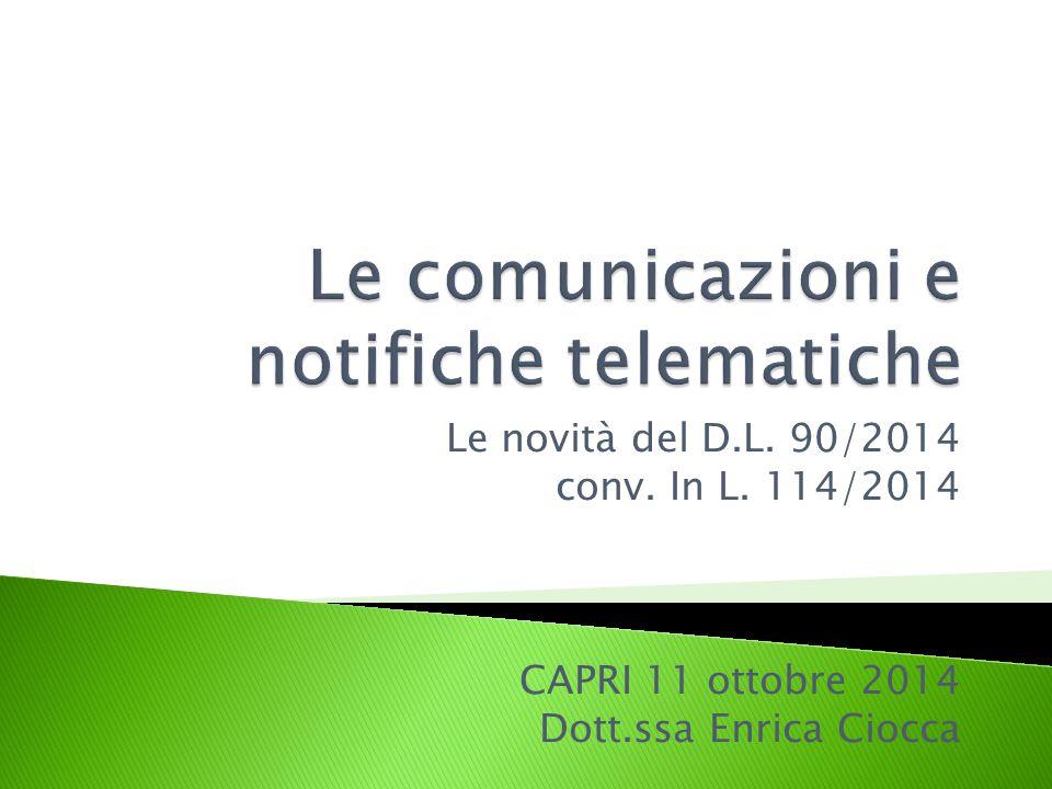 Le comunicazioni e notifiche telematiche