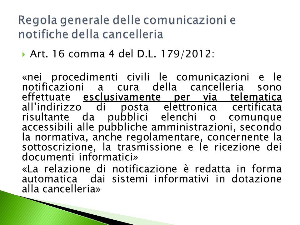 Regola generale delle comunicazioni e notifiche della cancelleria
