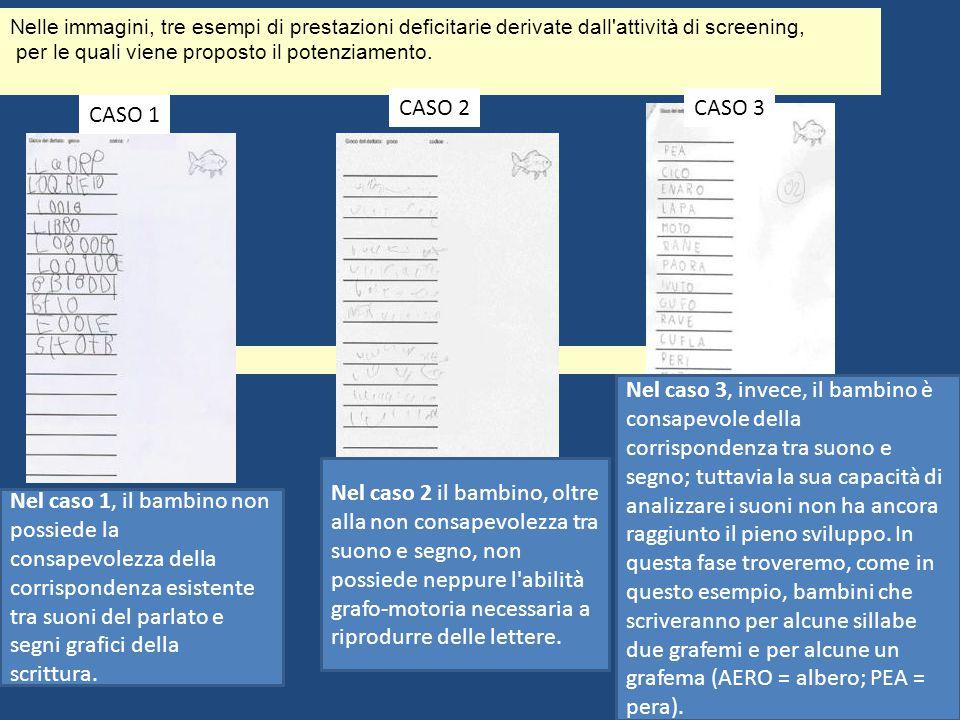 Nelle immagini, tre esempi di prestazioni deficitarie derivate dall attività di screening,