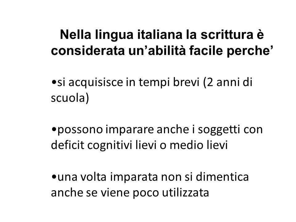 Nella lingua italiana la scrittura è considerata un'abilità facile perche'