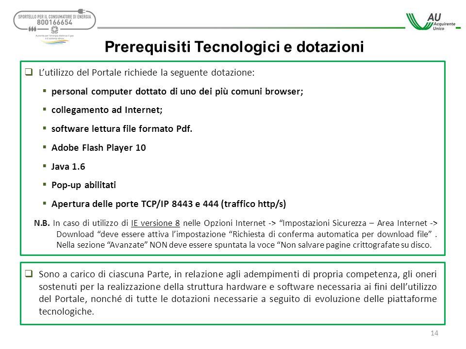 Prerequisiti Tecnologici e dotazioni