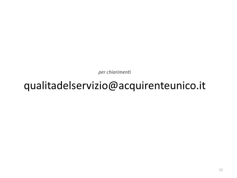 per chiarimenti qualitadelservizio@acquirenteunico.it
