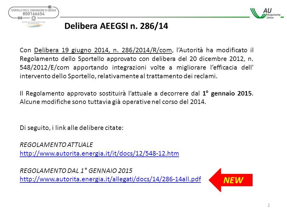 Delibera AEEGSI n. 286/14