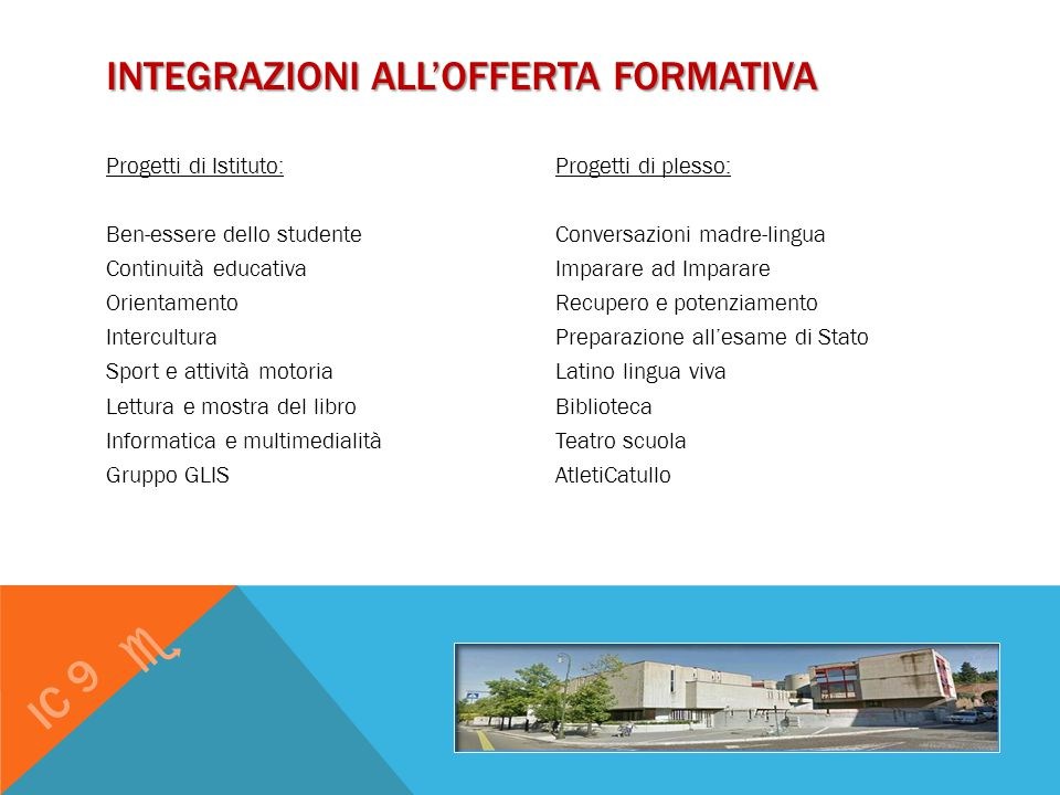 Integrazioni all'offerta formativa