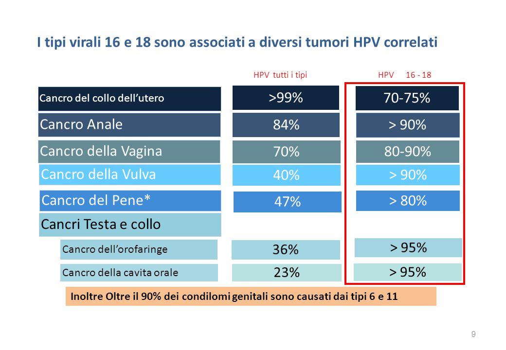 HPV : impatto su entrambe i sessi Dati di incidenza dell' HPV in Italia