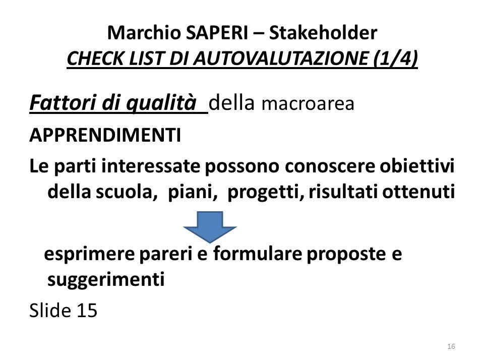 Marchio SAPERI – Stakeholder CHECK LIST DI AUTOVALUTAZIONE (1/4)