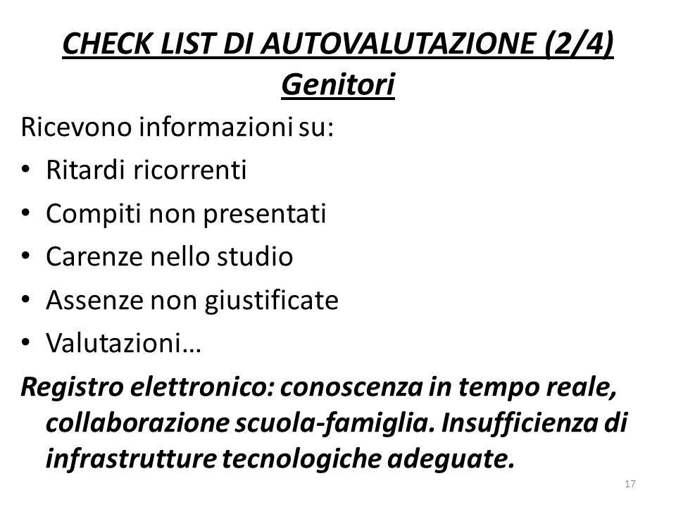 CHECK LIST DI AUTOVALUTAZIONE (2/4) Genitori