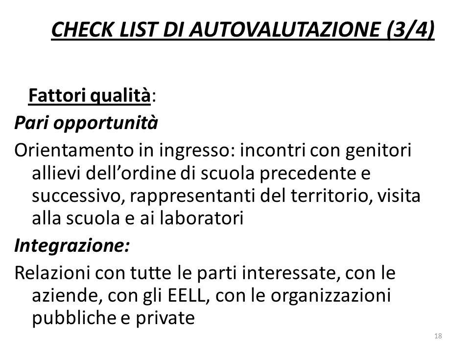 CHECK LIST DI AUTOVALUTAZIONE (3/4)