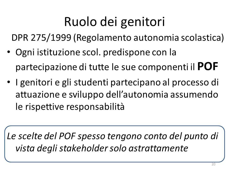 Ruolo dei genitori DPR 275/1999 (Regolamento autonomia scolastica)