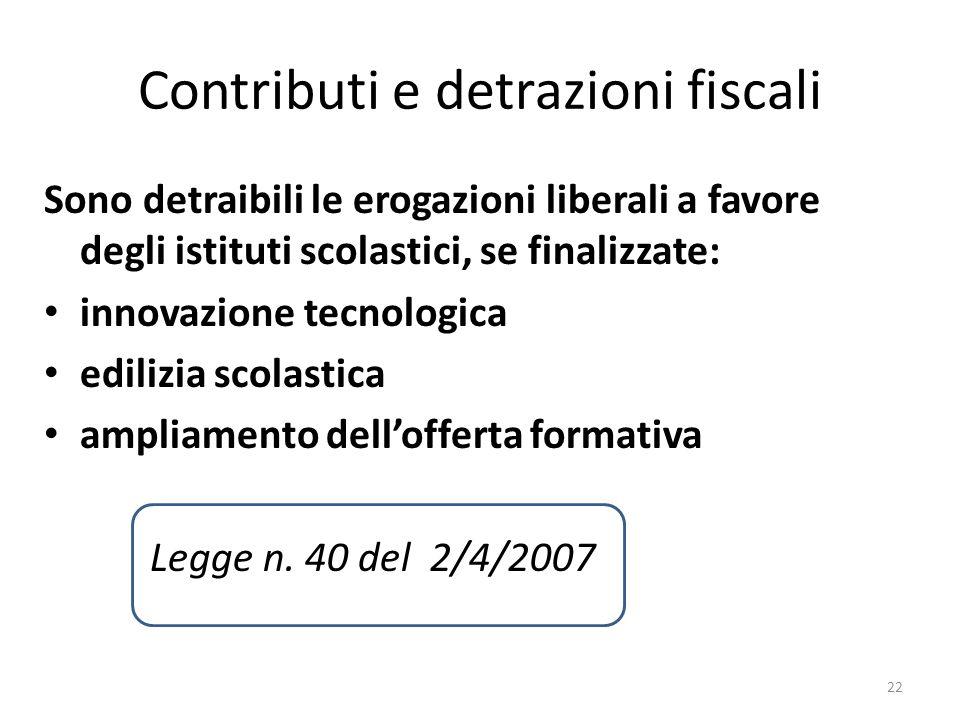 Contributi e detrazioni fiscali