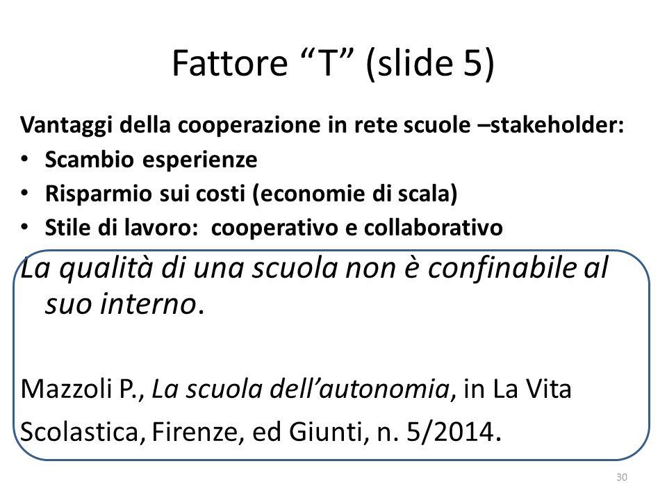 Fattore T (slide 5) Vantaggi della cooperazione in rete scuole –stakeholder: Scambio esperienze.