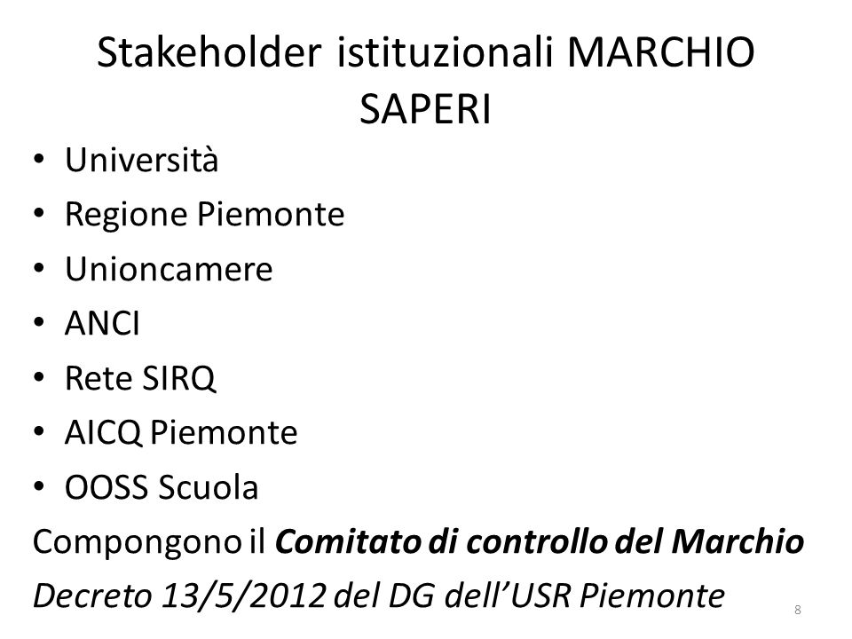 Stakeholder istituzionali MARCHIO SAPERI
