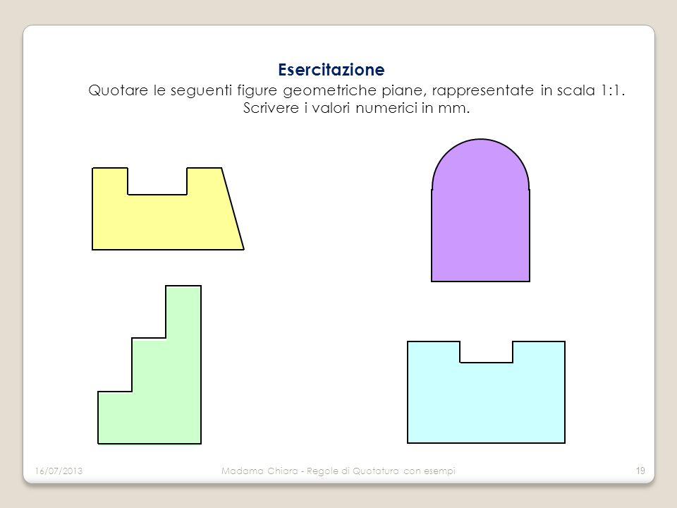 Esercitazione Quotare le seguenti figure geometriche piane, rappresentate in scala 1:1. Scrivere i valori numerici in mm.