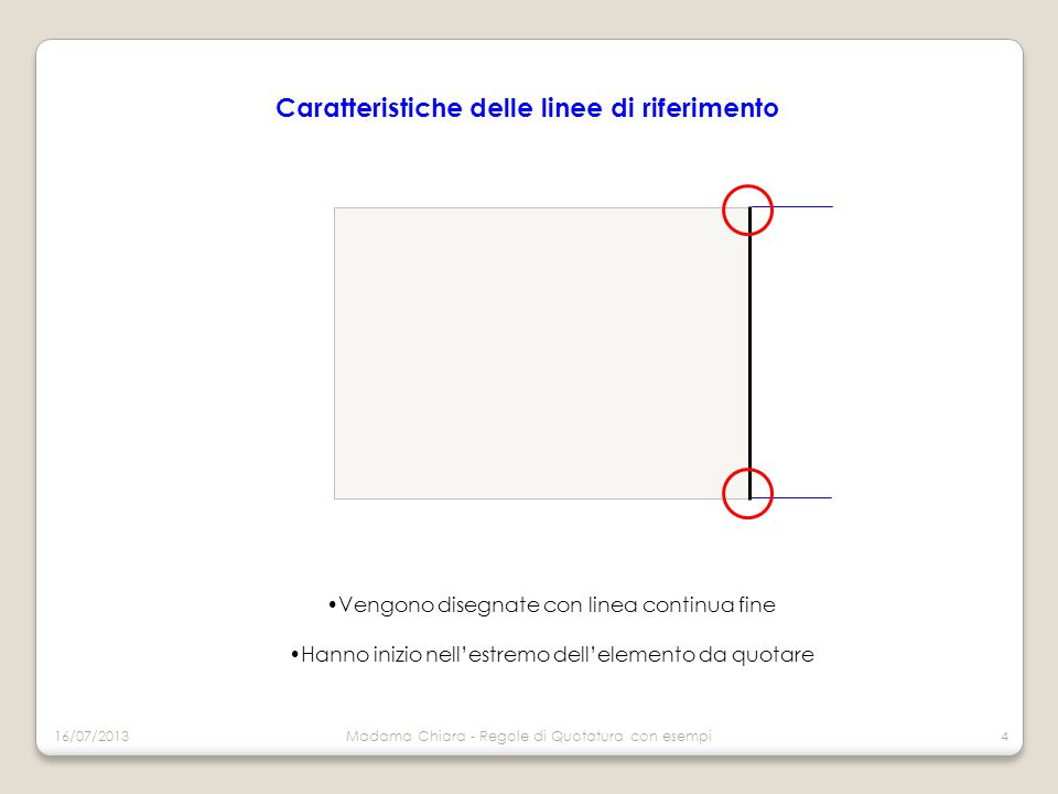 Caratteristiche delle linee di riferimento