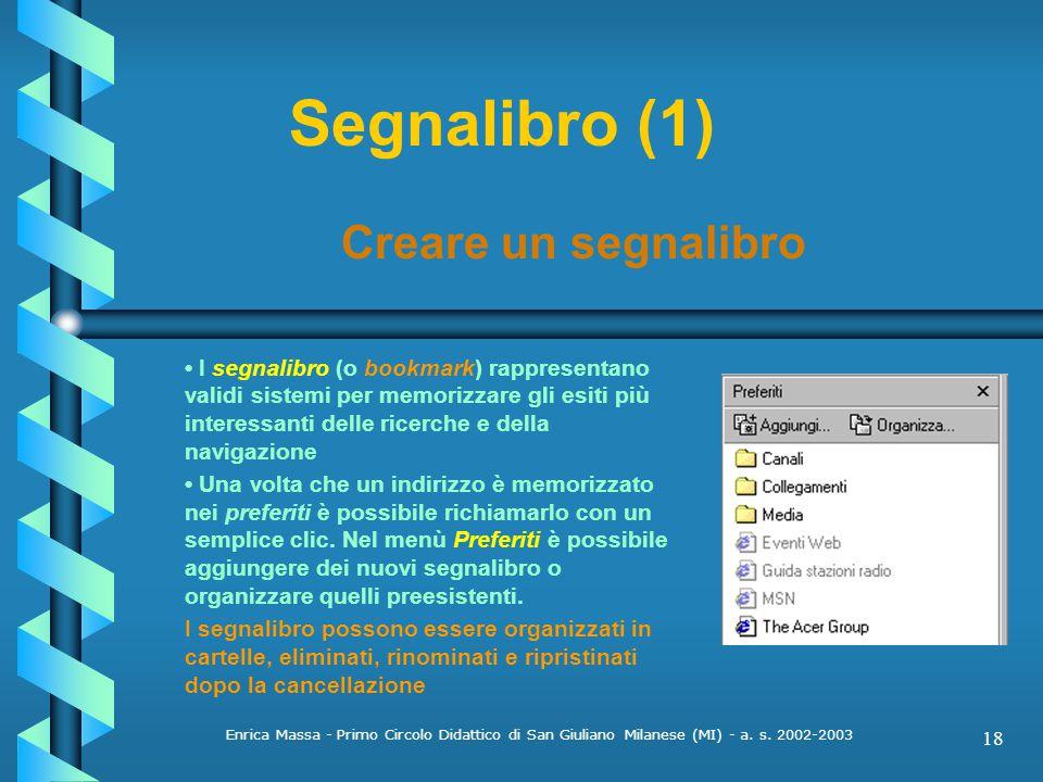 Segnalibro (1) Creare un segnalibro