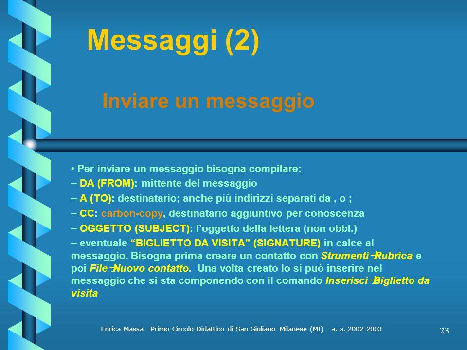 Messaggi (2) Inviare un messaggio