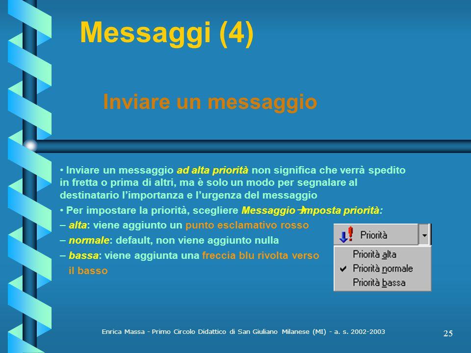 Messaggi (4) Inviare un messaggio