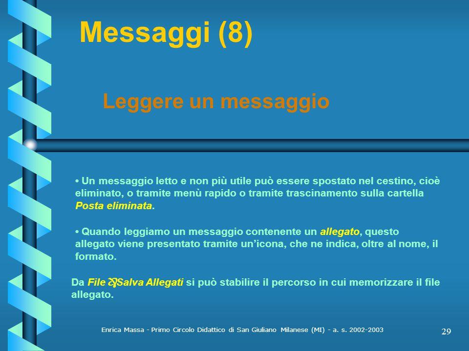 Messaggi (8) Leggere un messaggio