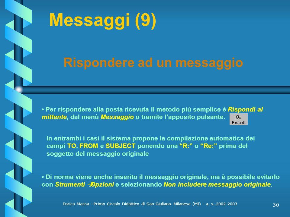 Messaggi (9) Rispondere ad un messaggio