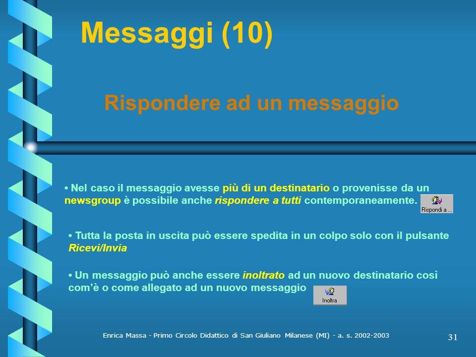 Messaggi (10) Rispondere ad un messaggio