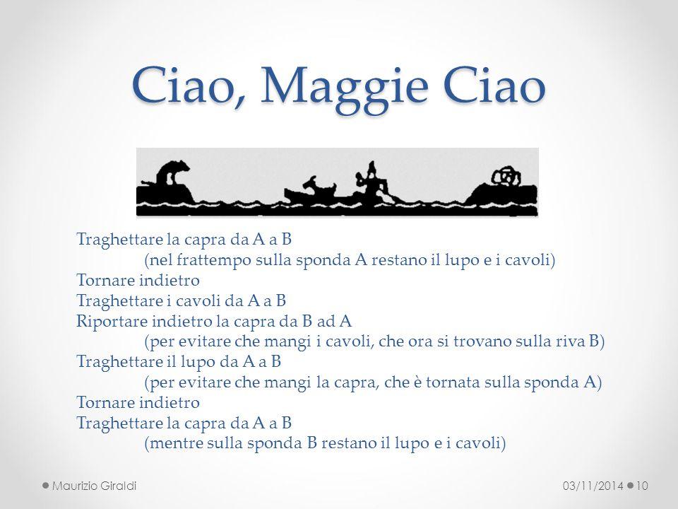 Ciao, Maggie Ciao Traghettare la capra da A a B