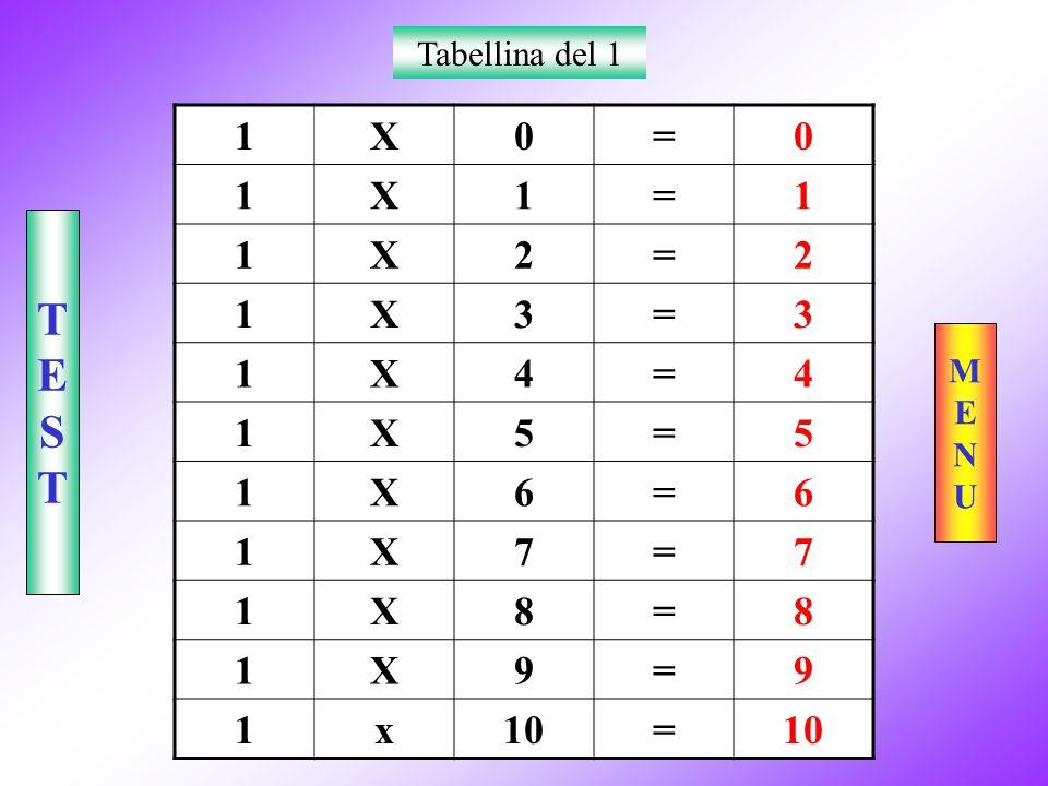 Tabellina del 1 1 X = 2 3 4 5 6 7 8 9 x 10 T E S M E N U