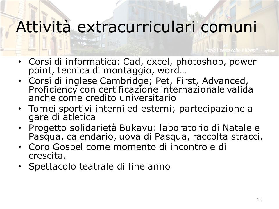 Attività extracurriculari comuni