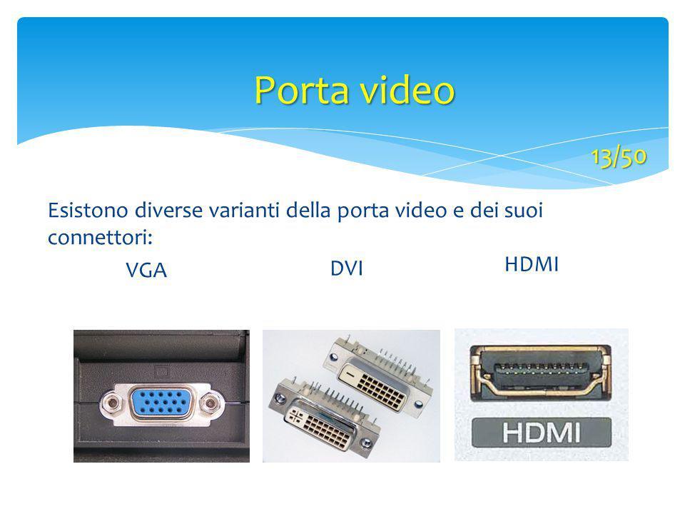 Porta video 13/50 Esistono diverse varianti della porta video e dei suoi connettori: VGA DVI HDMI