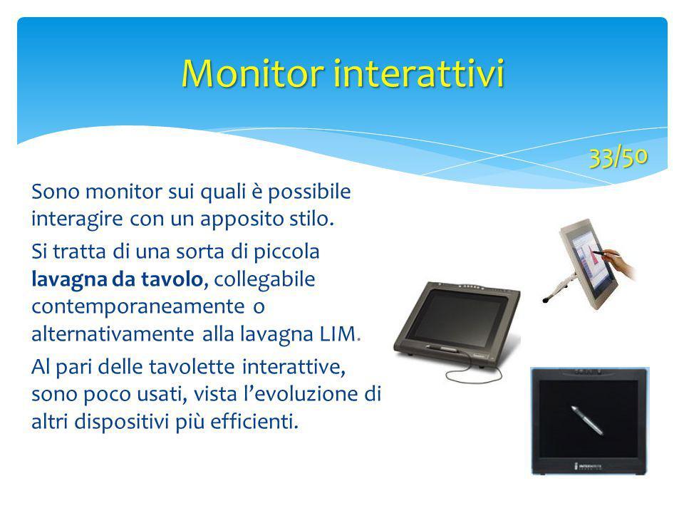 Monitor interattivi 33/50. Sono monitor sui quali è possibile interagire con un apposito stilo.