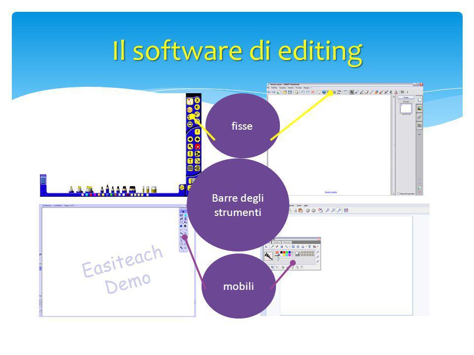 Il software di editing fisse Barre degli strumenti mobili