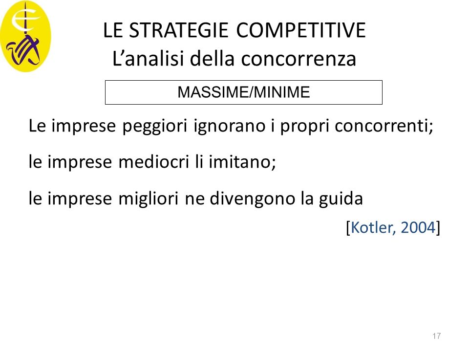 LE STRATEGIE COMPETITIVE L'analisi della concorrenza