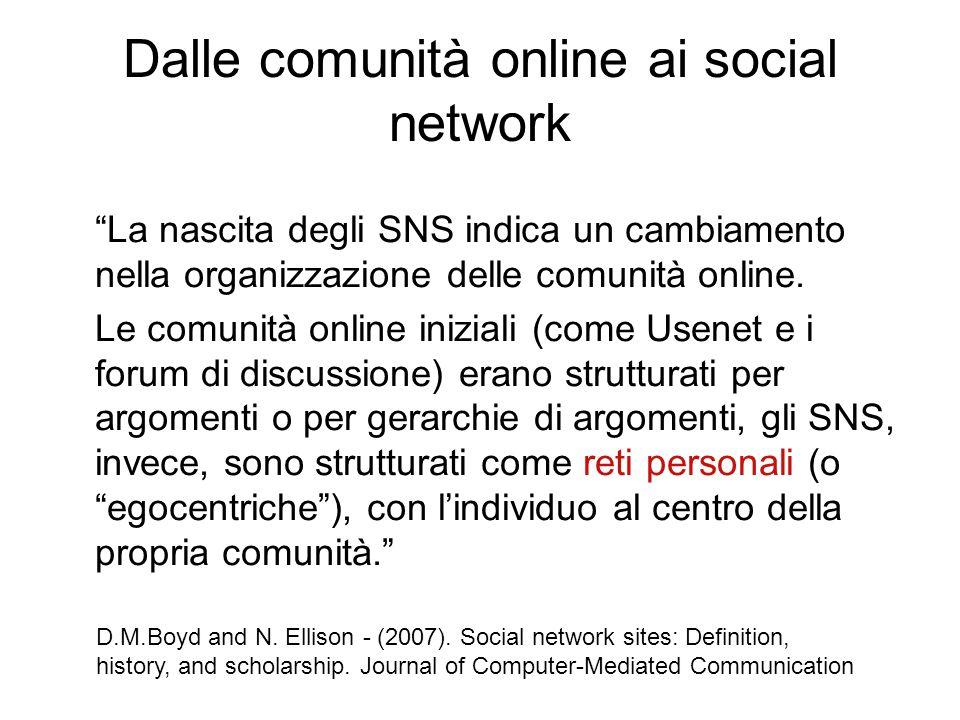Dalle comunità online ai social network