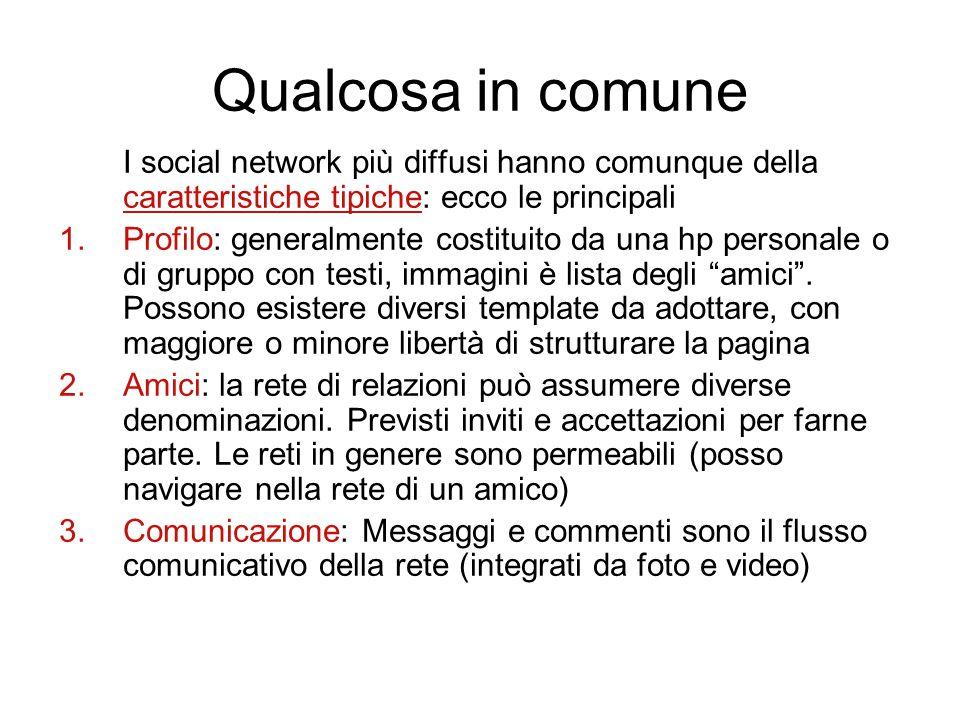 Qualcosa in comune I social network più diffusi hanno comunque della caratteristiche tipiche: ecco le principali.