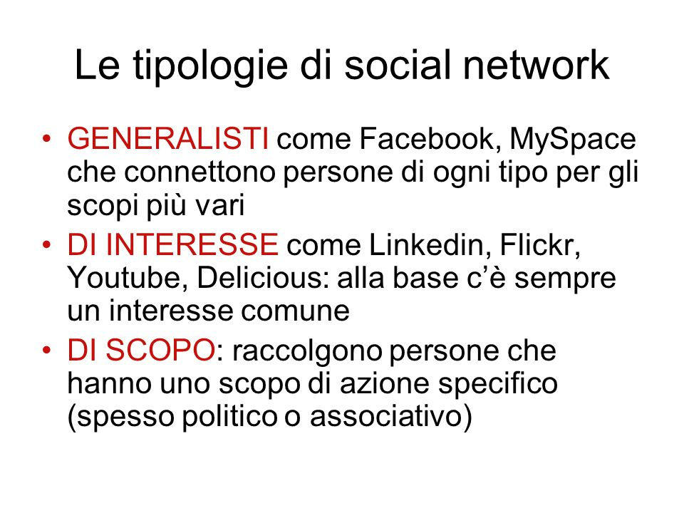 Le tipologie di social network