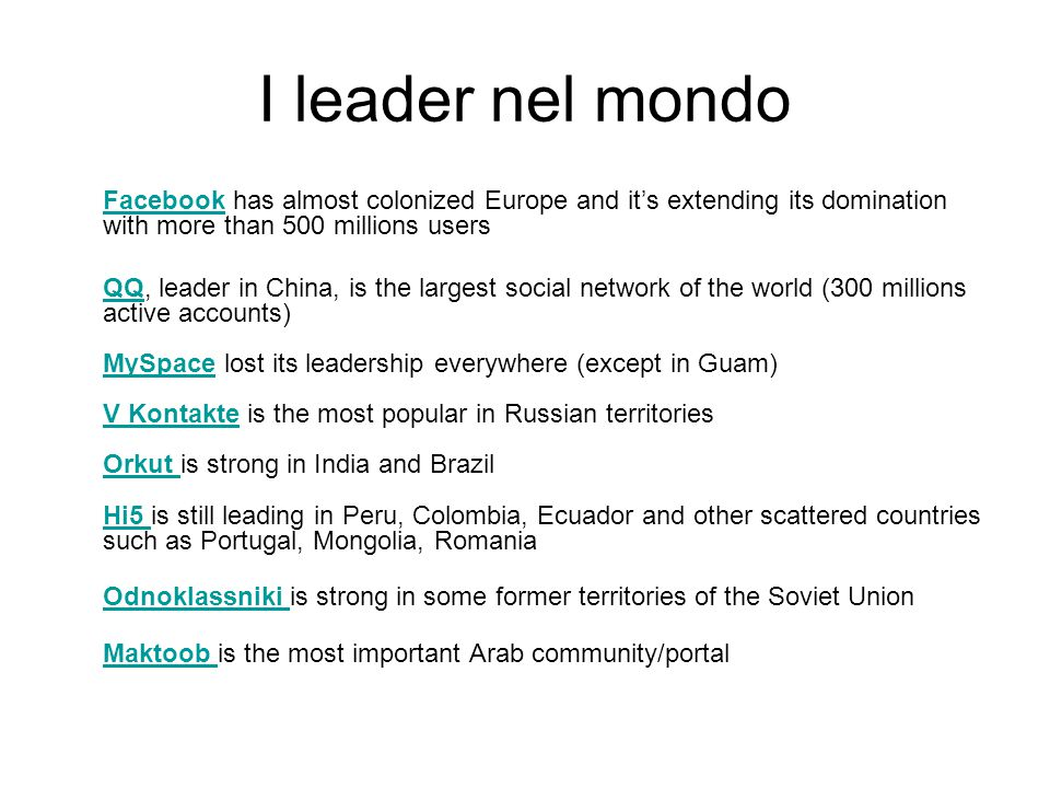 I leader nel mondo Facebook has almost colonized Europe and it's extending its domination with more than 500 millions users.