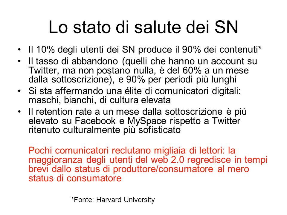Lo stato di salute dei SN